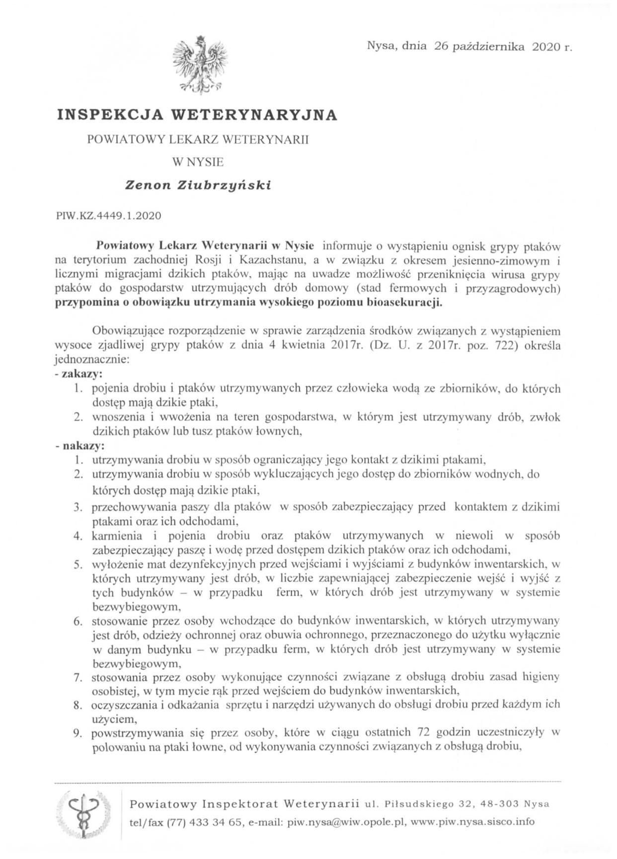 Komunikat Powiatowego Lekarza Weterynarii w Nysie w związku z wystąpieniem ognisk ptasiej grypy na terytorium Rosji i Kazachstanu.