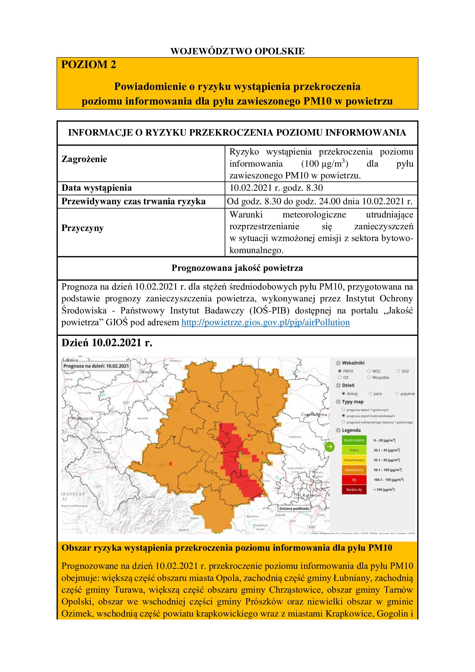 Poziom pyBu zawieszonego PM10 w powietrzu - komunikat