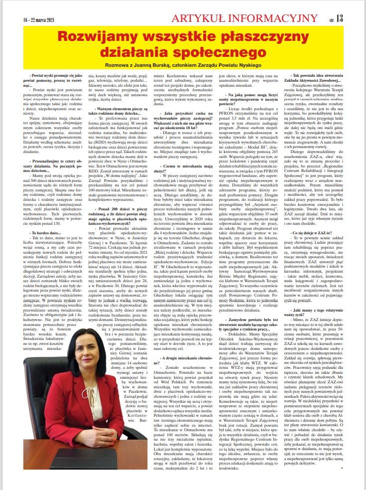 Wywiad z Joanną Burską członkiem Zarządu Powiatu