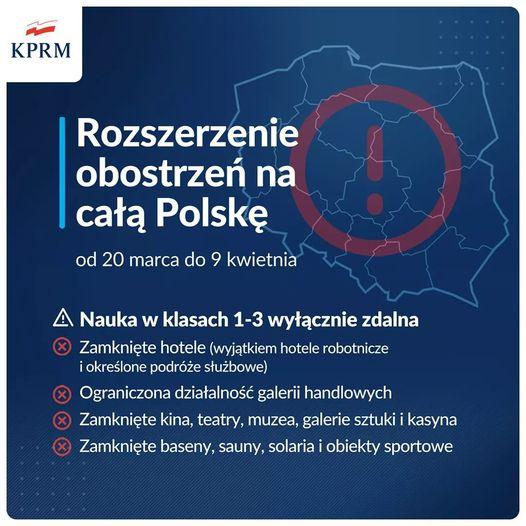 Od 20 marca w caBej Polsce obowizuj rozszerzone zasady bezpieczeDstwa