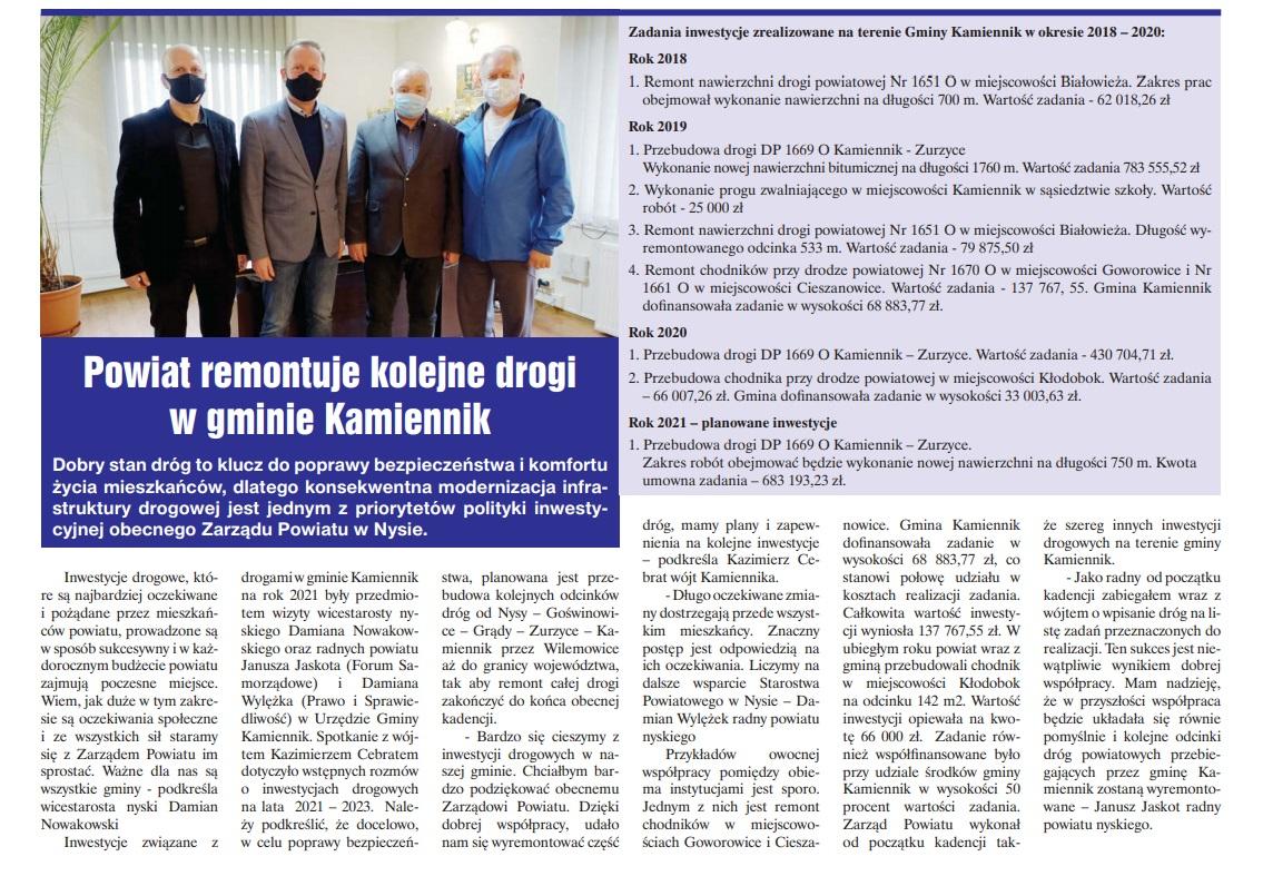 Powiat remontuje kolejne drogi w gminie Kamiennik