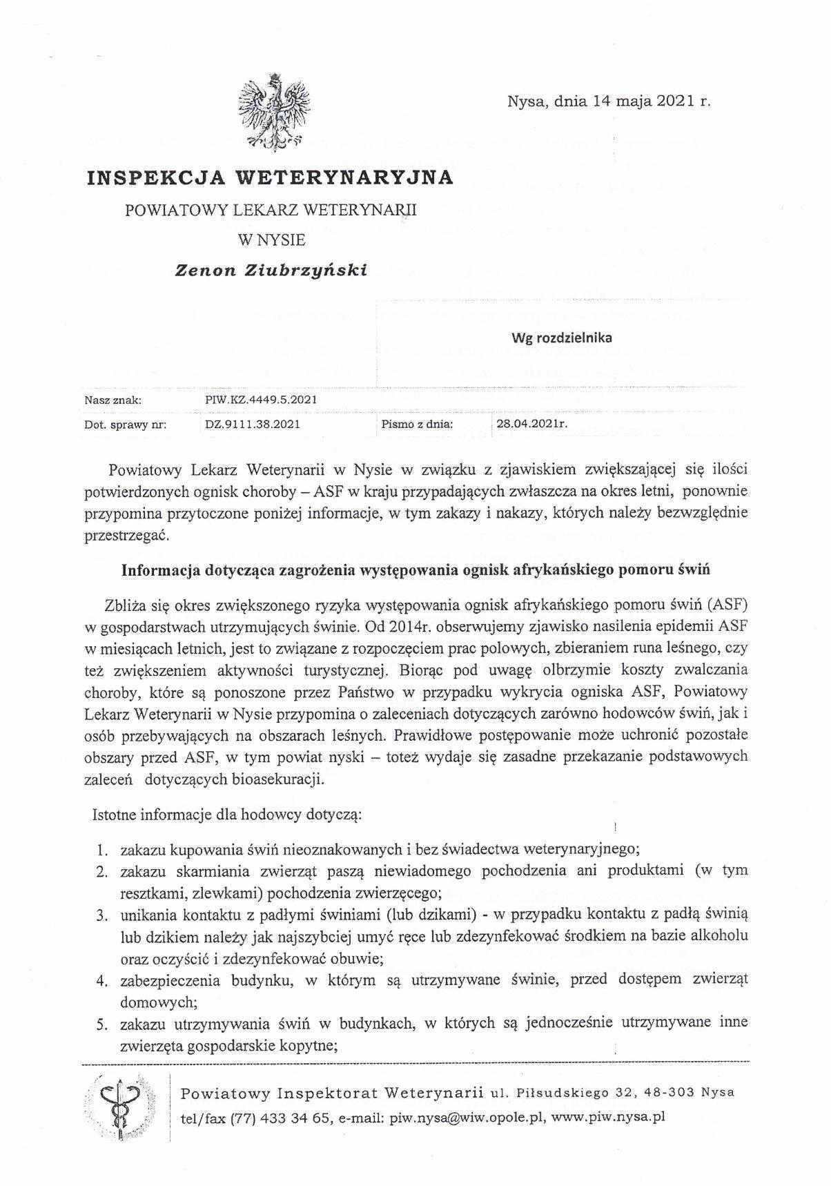 Komunikat Powiatowego Lekarza Weterynarii w Nysie